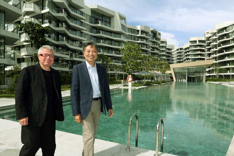 Keppel Land's general manager of marketing Albert Foo and Mr Daniel Libeskind, the architect for Corals at Keppel Bay (above) and its sister development, Reflections at Keppel Bay. The developer began handing over units at Corals at Keppel Bay to buyers yesterday.